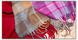 men's and ladies cashmere and lambs wool scarves
